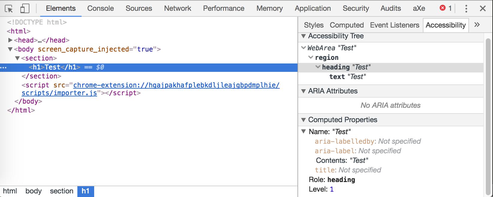Screenshot otwartych narzędzi programistycznych Chrome, w których podglądany w zakładce Accessibility jest tag section > h1