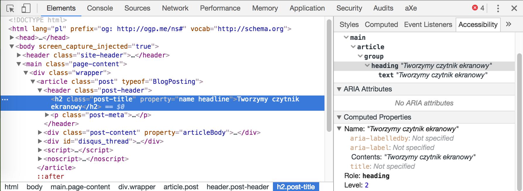 Screenshot otwartych narzędzi programistycznych Chrome, w których podglądany w zakładce Accessibility jest tag h2