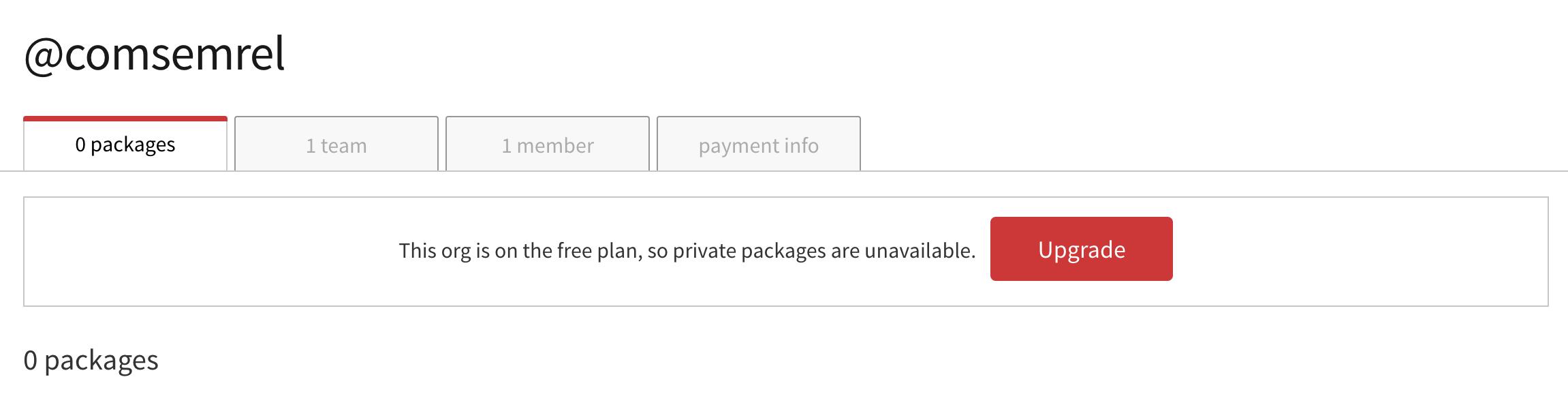Panel zarządzania organizacją na npm, składający się z 4 zakładek: 0 packages, 1 team, 1 member, payment info. Włączony jest panel 0 packages.