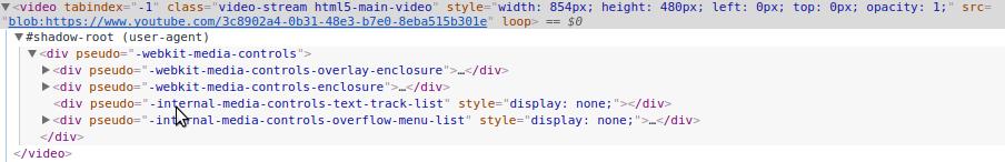 Shadow DOM tagu video w przeglądarce Chrome